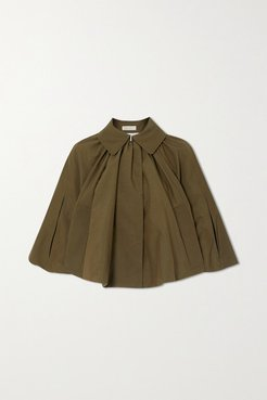Gathered Faille Cape - Army green