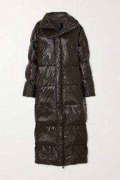 Convertible Quilted Padded Glossed-shell Coat - Brown