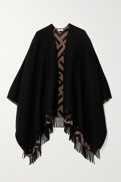 Reversible Fringed Intarsia Wool And Cashmere-blend Wrap - Black