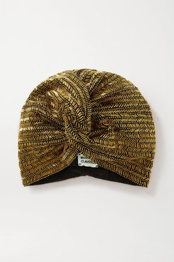 Marbella Bead-embellished Stretch-cotton Turban - Gold