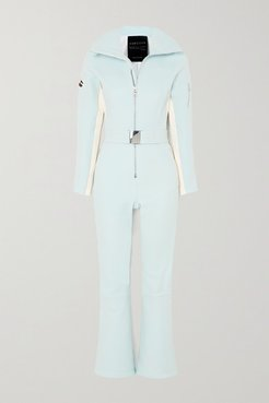 Signature Over The Boot Belted Striped Ski Suit - Blue