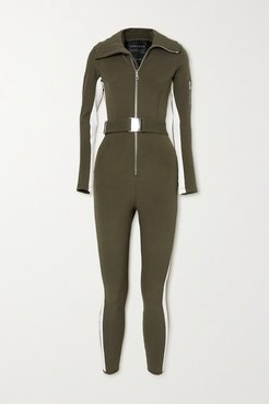 Signature In The Boot Belted Striped Ski Suit - Army green