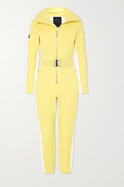 Signature In The Boot Belted Striped Ski Suit - Yellow