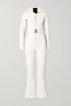Signature In The Boot Belted Striped Ski Suit - Cream
