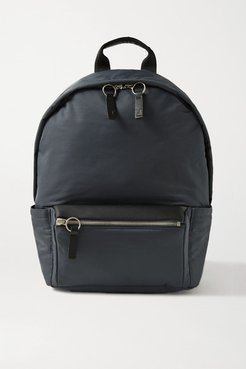 Flight Leather-trimmed Shell Backpack - Navy