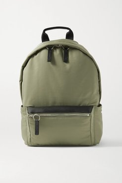 Flight Leather-trimmed Shell Backpack - Army green