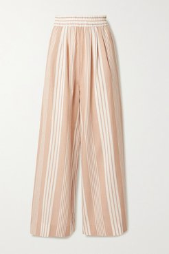 Net Sustain Paloma Striped Tencel Lyocell And Organic Cotton-blend Wide-leg Pants - Sand