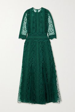 Cade Polka-dot Flocked Tulle And Guipure Lace Midi Dress - Forest green