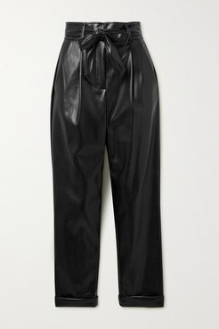 Belted Pleated Vegan Leather Tapered Pants - Black