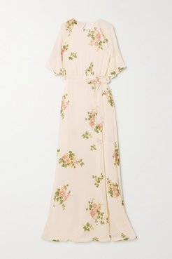 Pansy Open-back Belted Floral-print Georgette Maxi Dress - White