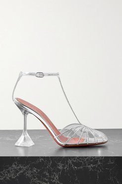 Brygit Crystal-embellished Pvc And Mirrored-leather Sandals - Clear