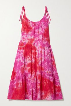 Daisy Tiered Tie-dyed Crinkled Cotton-gauze Dress - Pink