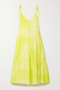 Daisy Tiered Tie-dyed Crinkled Cotton-gauze Dress - Yellow
