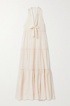 Eve Tiered Metallic-trimmed Crinkled Cotton-gauze Maxi Dress - Cream
