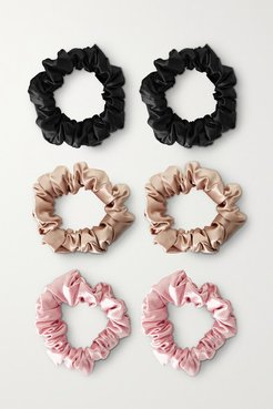 Set Of Six Large Silk Hair Ties - Neutral