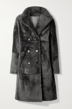 Lacon Double-breasted Shearling Coat - Charcoal