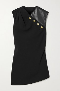 Button-embellished Crepe And Faux Leather Top - Black