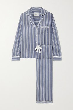 Clara Striped Voile Pajama Set - Light blue