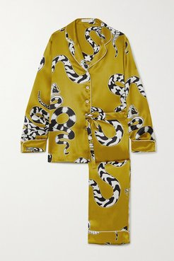 Lila Printed Silk-satin Pajama Set - Gold
