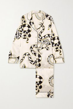 Lila Printed Silk-satin Pajama Set - Ivory
