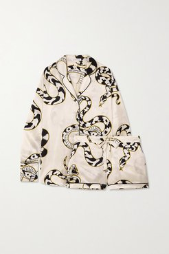 Alba Printed Silk-satin Pajama Set - Ivory