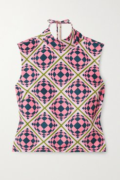 Tied Up Open-back Printed Shell Top - Pink