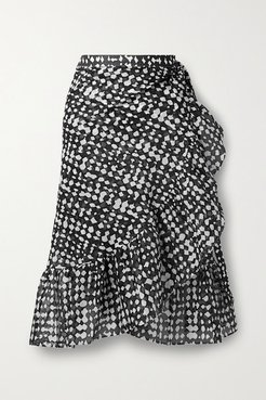 Gazelle Ruffled Printed Cotton-voile Wrap Skirt - Charcoal
