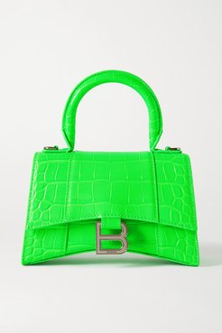Hourglass Xs Croc-effect Leather Tote - Green