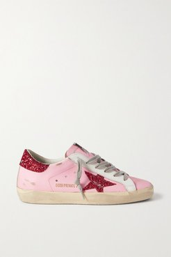 Superstar Glittered Distressed Leather Sneakers - Pink