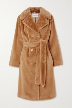 Faustine Belted Double-breasted Faux Fur Coat