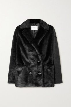 Annabelle Double-breasted Faux Pony Hair Blazer - Black