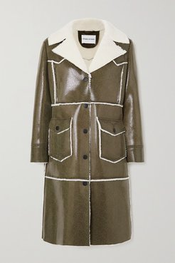 Adele Faux Shearling-trimmed Snake-effect Faux Patent-leather Coat - Black