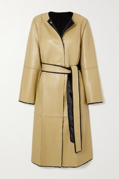 Jamie Reversible Belted Faux Leather And Faux Shearling Coat - Mustard