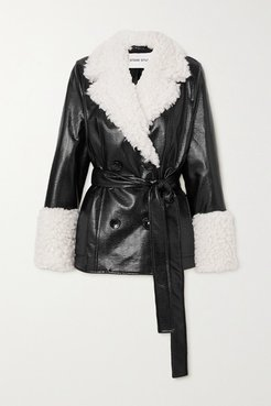 Harmony Belted Faux Shearling-trimmed Faux Textured Patent-leather Coat - Black