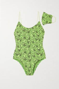 Allegra Metallic Neon Floral-jacquard Swimsuit - Bright green