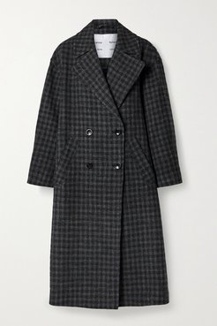 Double-breasted Checked Wool And Cotton-blend Coat - Charcoal