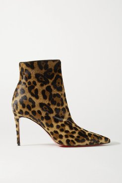 So Kate Booty 85 Leopard-print Calf Hair Ankle Boots - Leopard print