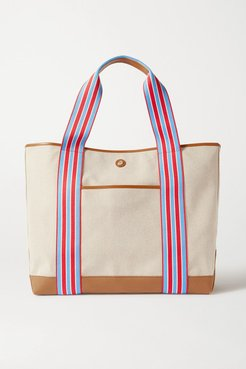 Cabana Leather And Canvas Tote - Red