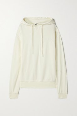 Embroidered Organic Cotton-blend Jersey Hoodie - Cream