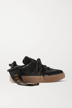 Ivy Park Supersleek Textured-leather, Neoprene And Suede Sneakers - Black