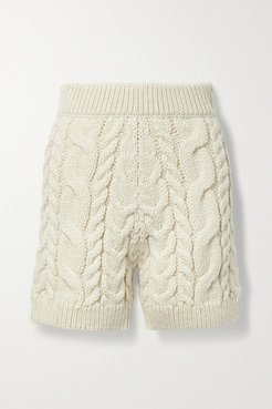 Cable-knit Wool Shorts - Cream