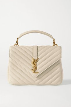 College Medium Quilted Leather Tote - Off-white