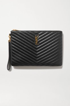 Monogram Quilted Leather Pouch - Black