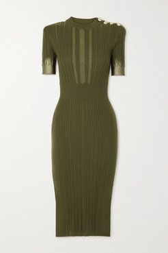 Button-embellished Metallic Ribbed Silk, Wool And Cashmere-blend Midi Dress - Army green