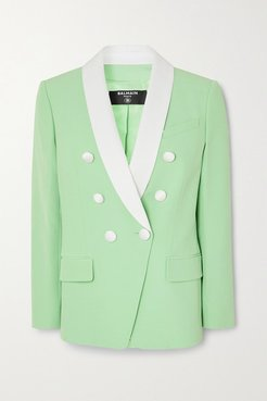 Double-breasted Two-tone Crepe Blazer - Mint