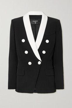 Double-breasted Two-tone Crepe Blazer - Black