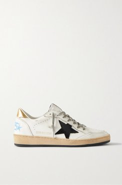 Ball Star Distressed Suede-trimmed Leather Sneakers - White