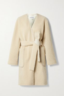 Belted Leather-trimmed Shearling Coat - Cream