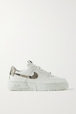 Air Force 1 Pixel Smooth And Snake-effect Leather Sneakers - Off-white
