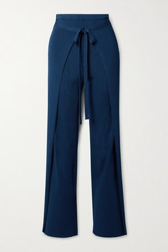 Edie Tie-front Ribbed-knit Straight-leg Pants - Navy